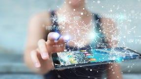 Mulher de negócios que usa o código binário digital no rende do telefone celular 3D Fotografia de Stock Royalty Free
