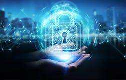A mulher de negócios que usa o cadeado digital com proteção de dados 3D arranca Imagem de Stock Royalty Free