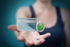 Mulher de negócios que usa o cartão de crédito para pagar a rendição 3D em linha Fotos de Stock
