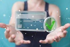 Mulher de negócios que usa o cartão de crédito para pagar a rendição 3D em linha Imagem de Stock Royalty Free