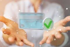 Mulher de negócios que usa o cartão de crédito para pagar a rendição 3D em linha Fotografia de Stock