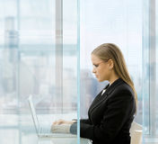 Mulher de negócios que usa o comouter do portátil Fotografia de Stock Royalty Free