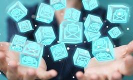 A mulher de negócios que usa o cubo de flutuação envia por correio eletrónico a rendição 3D Imagem de Stock