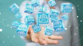A mulher de negócios que usa o cubo de flutuação envia por correio eletrónico a rendição 3D Imagens de Stock Royalty Free