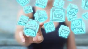 A mulher de negócios que usa o cubo de flutuação envia por correio eletrónico a rendição 3D Fotos de Stock Royalty Free
