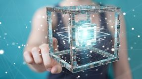 A mulher de negócios que usa o cubo futurista textured a rendição do objeto 3D Fotos de Stock