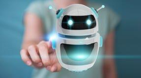 Mulher de negócios que usa o renderi digital da aplicação 3D do robô do chatbot Fotos de Stock Royalty Free