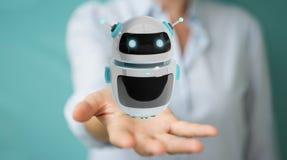 Mulher de negócios que usa o renderi digital da aplicação 3D do robô do chatbot Imagem de Stock Royalty Free
