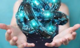 A mulher de negócios que usa o toro futurista textured o renderin do objeto 3D Fotos de Stock Royalty Free