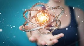 A mulher de negócios que usa o toro futurista textured o renderin do objeto 3D Fotos de Stock