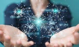 Mulher de negócios que usa a rede digital 3D da conexão do código binário com referência a Fotos de Stock