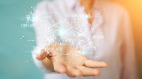 Mulher de negócios que usa a rede digital 3D da conexão do código binário com referência a Imagens de Stock
