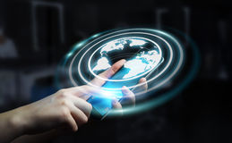 Mulher de negócios que usa a relação da Web à ressaca no renderi do Internet 3D Fotografia de Stock
