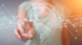 Mulher de negócios que usa a rendição da relação 3D do mapa do mundo dos EUA Imagens de Stock Royalty Free