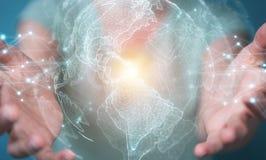 Mulher de negócios que usa a rendição da relação 3D do mapa do mundo dos EUA Imagem de Stock Royalty Free