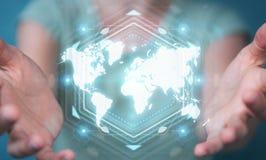 Mulher de negócios que usa a rendição digital da relação 3D do mapa do mundo Fotografia de Stock Royalty Free