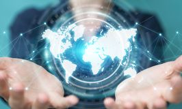 Mulher de negócios que usa a rendição digital da relação 3D do mapa do mundo Foto de Stock Royalty Free