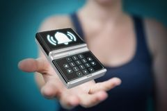 Mulher de negócios que usa a rendição home do dispositivo de segurança 3D do alarme Imagem de Stock