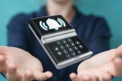 Mulher de negócios que usa a rendição home do dispositivo de segurança 3D do alarme Imagens de Stock Royalty Free