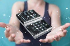 Mulher de negócios que usa a rendição home esperta do dispositivo remoto 3D Imagens de Stock