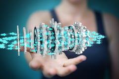 Mulher de negócios que usa a rendição moderna de flutuação do mecanismo de engrenagem 3D Fotografia de Stock