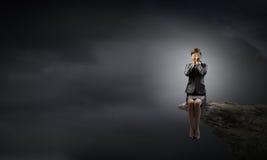 Mulher de negócios Scared fotografia de stock