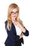 A mulher de negócios segura atrativa com seus braços cruzou - a imagem conservada em estoque Imagem de Stock Royalty Free