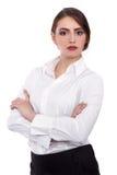 A mulher de negócios segura atrativa com seus braços cruzou - a imagem conservada em estoque Foto de Stock Royalty Free