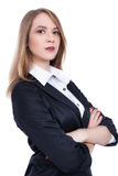 A mulher de negócios segura atrativa com seus braços cruzou - a imagem conservada em estoque Fotos de Stock
