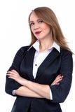 A mulher de negócios segura atrativa com seus braços cruzou - a imagem conservada em estoque Fotografia de Stock