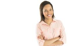 Mulher de negócios segura Standing Arms Crossed Imagem de Stock Royalty Free