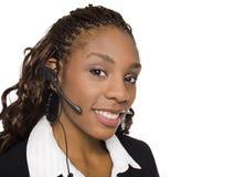 Mulher de negócios - serviço de atenção a o cliente Imagem de Stock