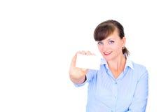 Mulher de negócios 'sexy' com cartão Imagens de Stock