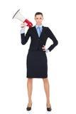 Mulher de negócios 'sexy' com megafone Foto de Stock Royalty Free