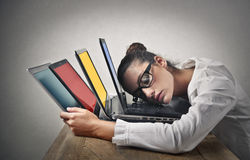 Mulher de negócios sonolento Fotos de Stock