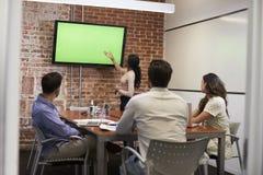 Mulher de negócios Standing By Screen para entregar a apresentação Foto de Stock Royalty Free