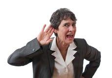 Mulher de negócios surda Fotografia de Stock