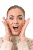 Mulher de negócios surpreendida foto de stock royalty free