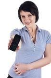 Mulher de negócios triguenha em um azul foto de stock