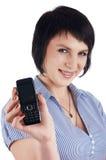 Mulher de negócios triguenha em um azul imagens de stock royalty free