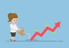 Mulher de negócios Watering Business Graph esse crescimento através da GR Foto de Stock