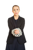 Mulher de negócio amarrada acima com corrente Fotografia de Stock