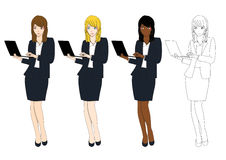 Mulher de negócio bonito ajustada com portátil Corpo cheio Imagem de Stock