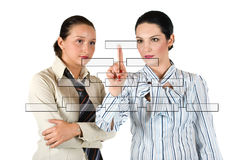 Mulher de negócio com diagrama Fotos de Stock