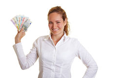 Mulher de negócio de sorriso com euro Foto de Stock Royalty Free