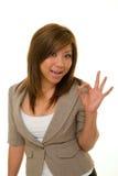 A mulher de negócio diz A-Okay Imagens de Stock Royalty Free