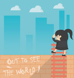 Mulher de negócio dos desenhos animados do conceito para fora para ver o mundo Fotografia de Stock