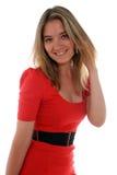 Mulher de negócio no vermelho Fotografia de Stock