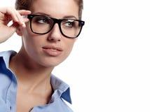 Mulher de negócio nos vidros Imagem de Stock