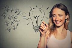 A mulher de negócio nova tem uma ideia grande Fotografia de Stock Royalty Free